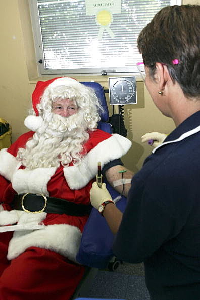 Santa donates blood pic