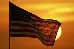 Picture of United States Flag at Sunset