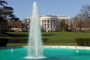 The South Lawn Fountain, with the White House behind.