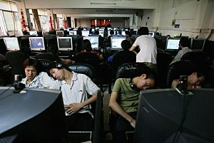 Youngers Sleep At An Internet Cafe