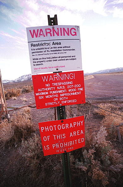 Photo of Warning Sign On Area 51 Border