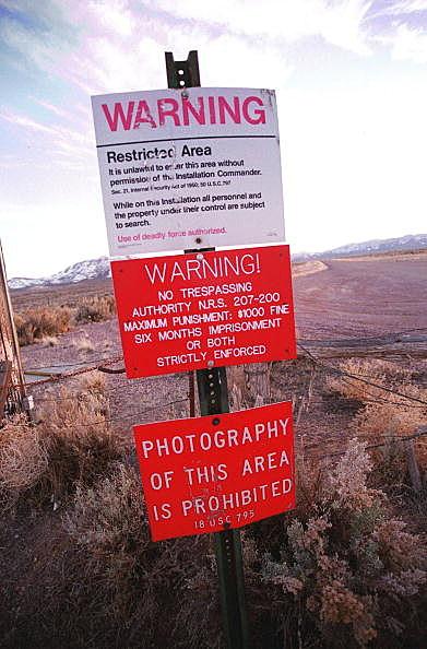 Photo of Warning Sign On Area 51 Border