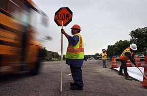 slow construction sign