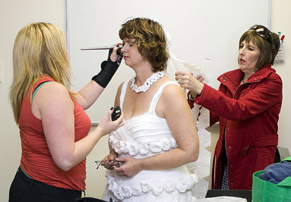 Models Showcase Toilet Tissue Wedding Dress