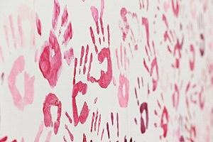 pink handprints