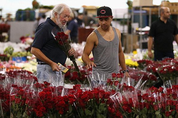 Men Selecting Roses