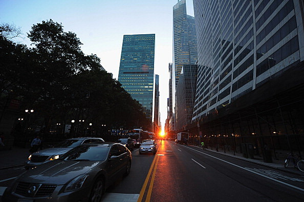 Sun Sets In Line With Manhattan's Street Grid