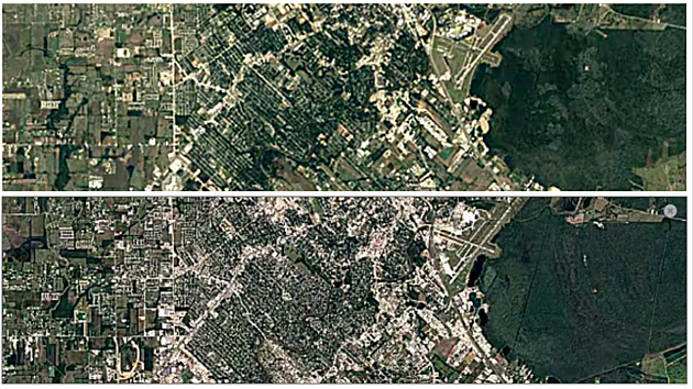 Satellite comparison of Youngsville