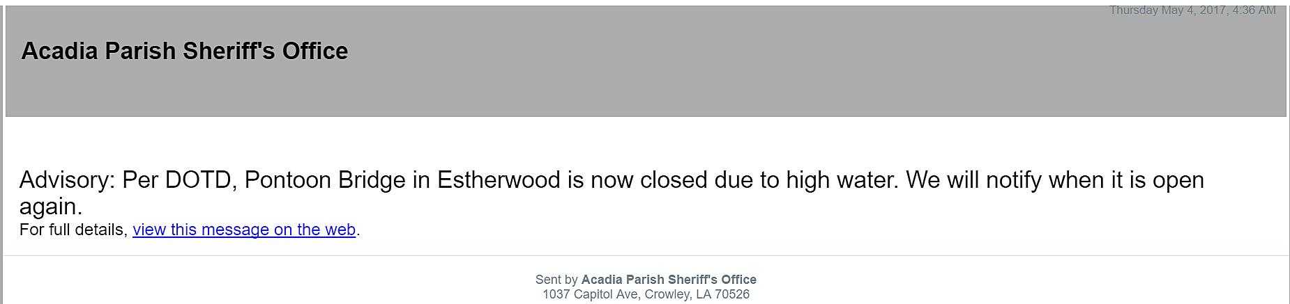 Acadia Parish Sheriff's Office/Nixle